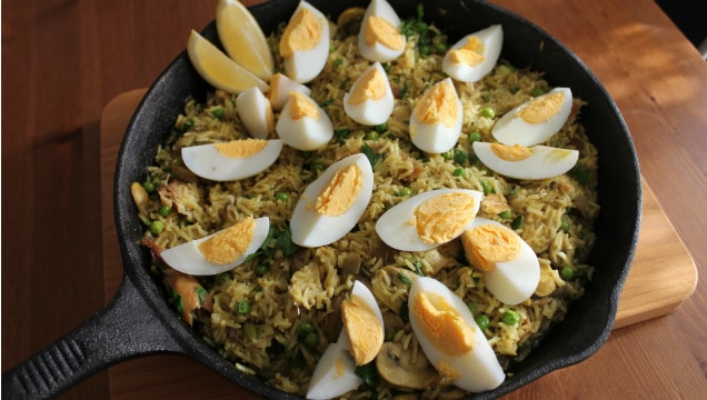 Smoked Mackerel Kedgeree, topped with boiled eggs