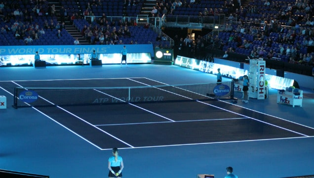 The court at the O2, before the start of the day's play at the World Tour Finals