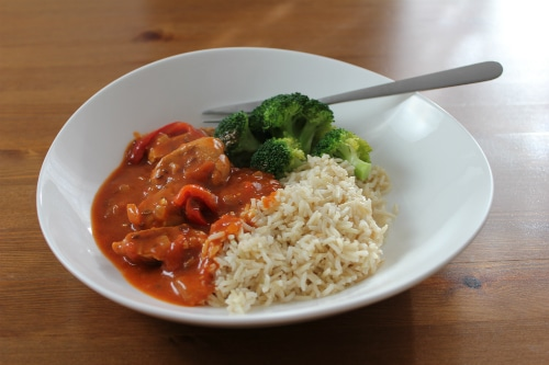 Pork Goulash served with broccoli and brown rice