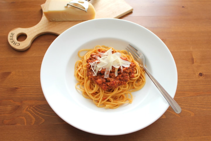 Bolognese Sauce on Spaghetti with Parmesan Cheese