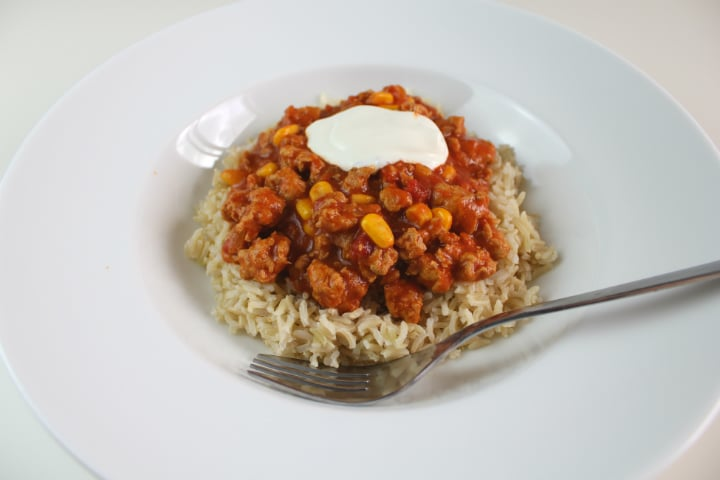 Turkey Chilli with Sweetcorn, Brown Rice and Sour Cream