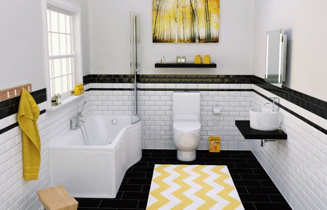 7 beautiful bathroom designs sally akins for Bathroom 3 piece suite