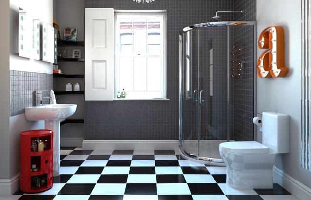 3 Piece Bathroom Ideas. Dreamline Cornerview White Acrylic Floor ...