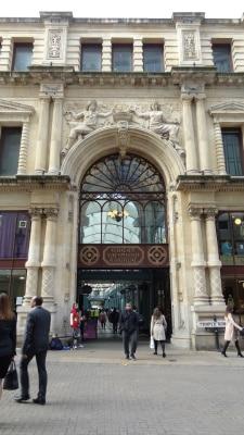 The beautiful Victorian stone masonry of the Great Western Arcade in Birmingham