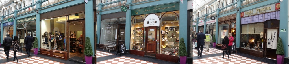Some of the shops inside the Great Western Arcade - one of Birmingham's Hidden Gems