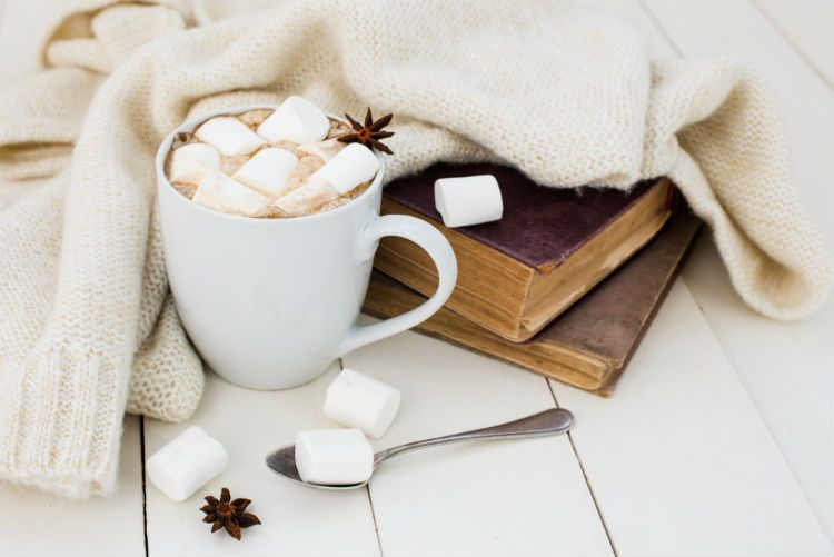 Books, hot chocolate with marshmallows and a snuggly blanket