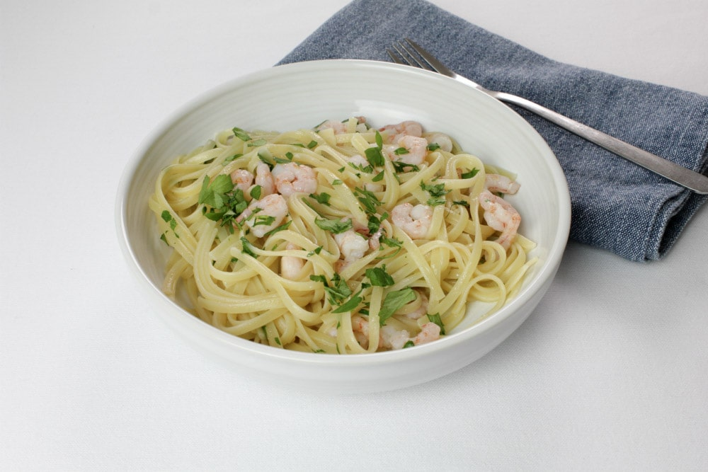 Prawns, garlic, spaghetti - this is the kind of meal you can throw together really quickly when you're not in the mood for a lot of cooking.