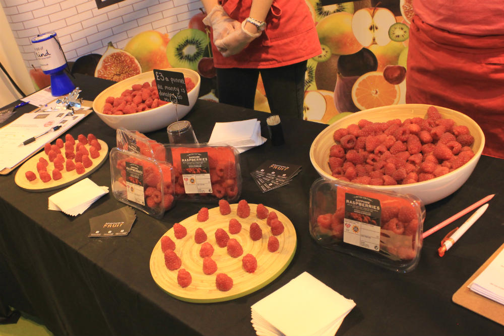 Sapphire Raspberries on the Adventures in Fruit stand at the Good Food Show Summer 2016, held at the NEC Birmingham in June 2016
