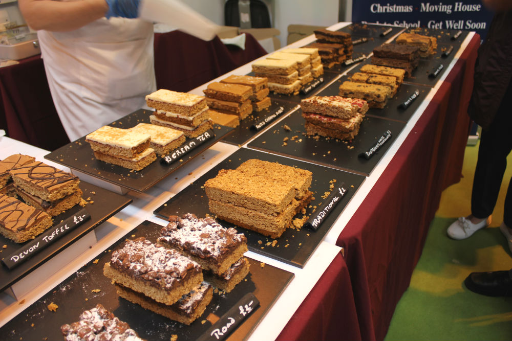 Delicious luxury flapjacks from Flapjackery on display at the Good Food Show Summer at the NEC BIrmingham in June 2016