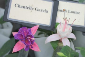 Fuschias Chantelle Garcia and Hannah Louise inside the Floral Marquee at the Gardener's World Live Floral Marquee, June 2016