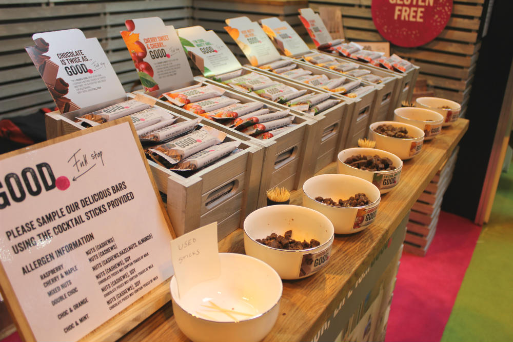 Delicious vegan friendly snack bars on the Good Full Stop stand at the Good Food Show Summer 2016, held at the NEC Birmingham in June 2016