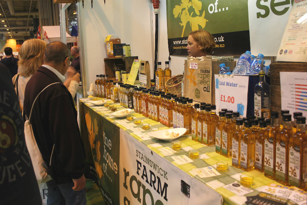 Extra virgin cold press rapeseed oil and dressings on the Stainswick Farm stand at the Good Food Show Summer 2016, held at the NEC Birmingham in June 2016