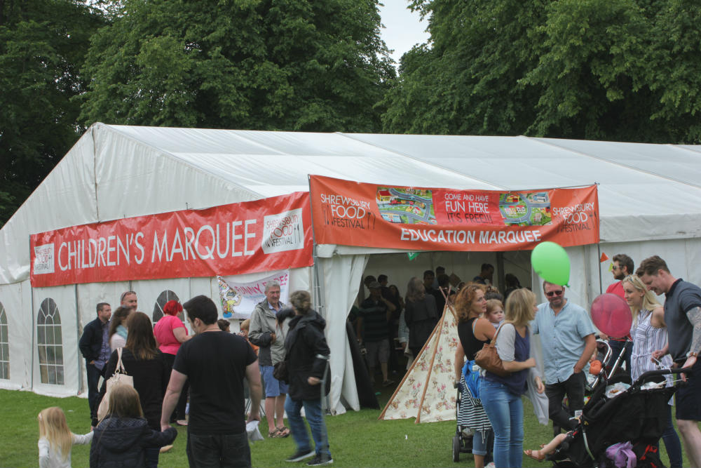 Kids are kept entertained in the Children's Marquee at the Shrewsbury Food Festival, June 2016