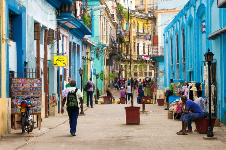 The bright colours of a street in Havana, Cuba