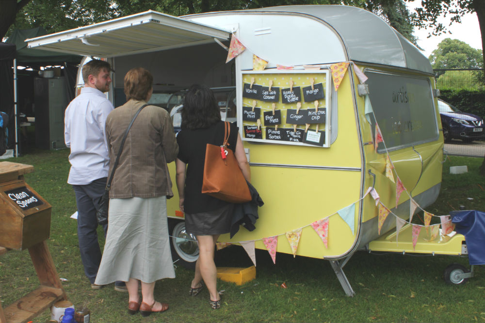 Visitors treating themselves to Shropshire Ice-Cream at the Shrewsbury Food Festival, June 2016