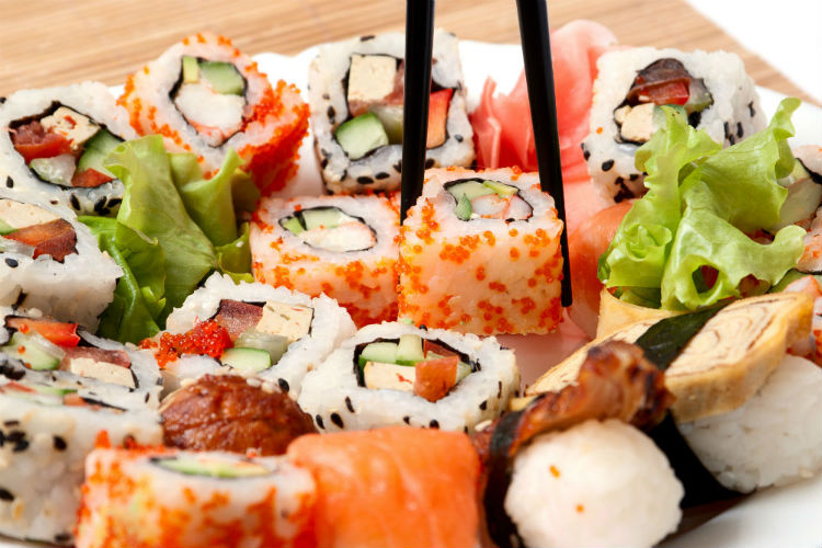 A platter of delicious sushi, just one of the many dishes you can sample in Japan!