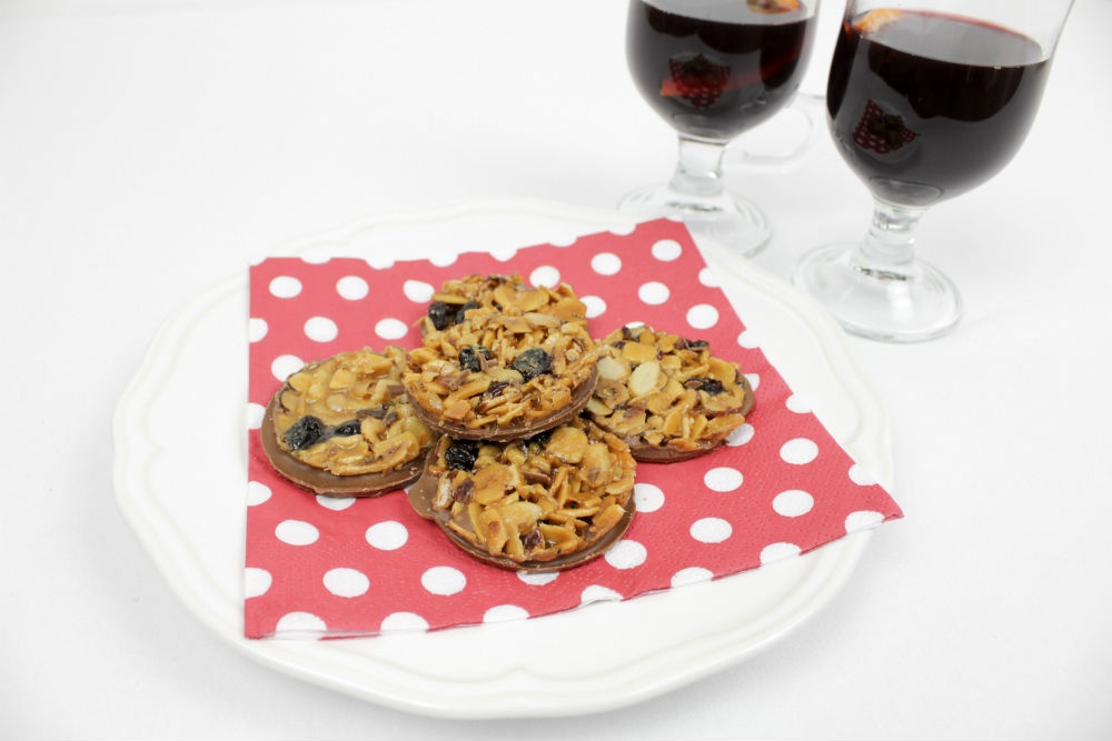 A plate of Thomas J Fudge's Florentines, perfect with a glass of my Italian-inspired Mulled Wine!