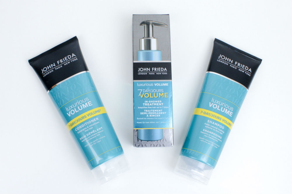 I love the John Frieda Luxurious Volume range, which leaves my hair smelling great and really adds volume.