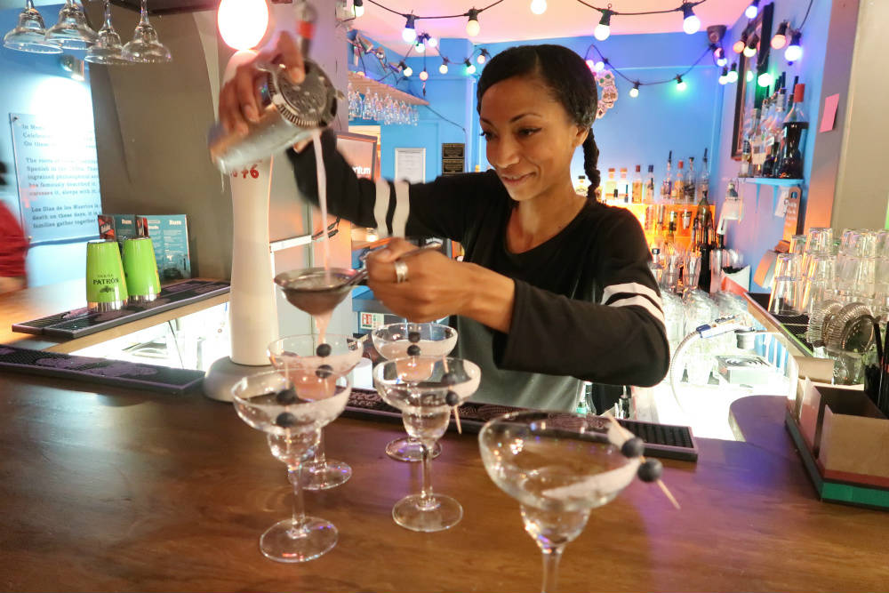 Bar manager Louisa, hard at work mixing cocktails at Bodega restaurant in Birmingham #review