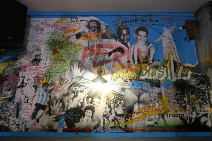 Football graffiti in the Sugar Loaf Bar at Bodega Cantina restaurant in Birmingham.