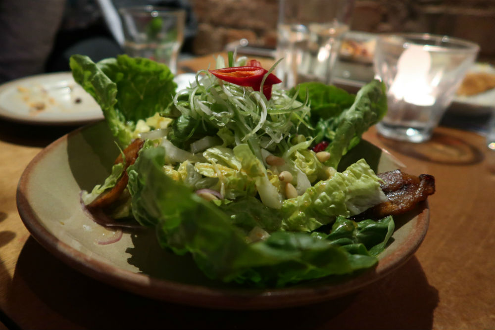 A plantain salad dressed with lime and chilli, at Bodega restaurant in Birmingham #review