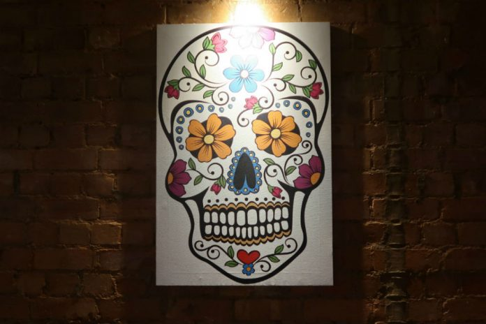 Artwork on the wall at Bodega Cantina restaurant in Birmingham.