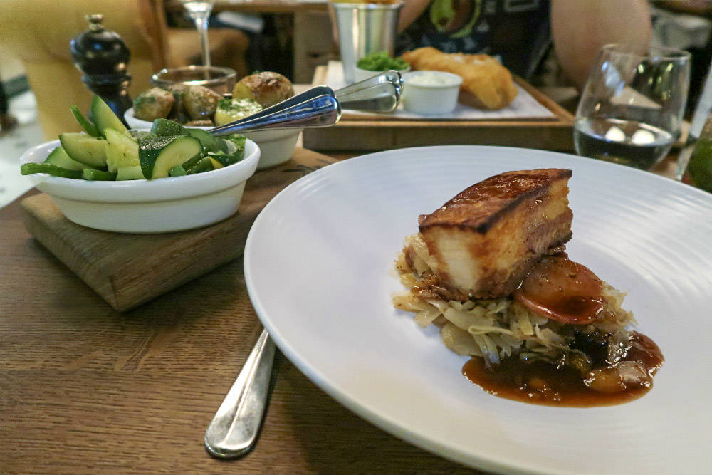 Slow Roast belly pork with smoked sausage and choucroute, accompanied by heritage potatoes and seasonal vegetables - at Tom's Kitchen Birmingham #review