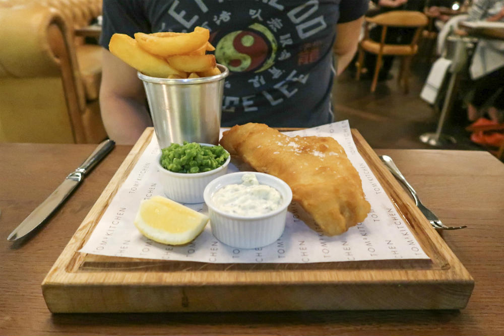 Fish and Triple-Cooked chips with deliciously sweet and fresh crushed peas at Tom's Kitchen Birmingham #review