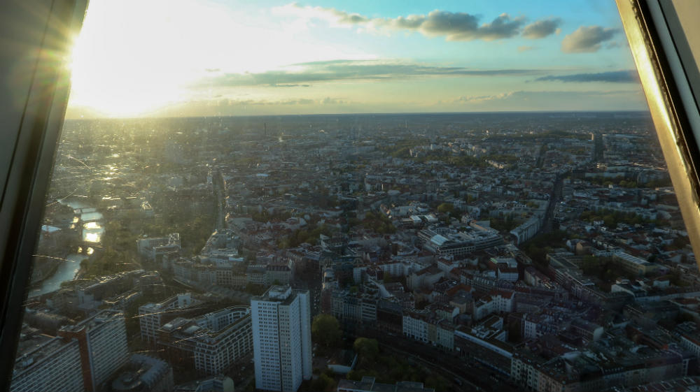 A view over Berlin at sunset from the viewing gallery in the Fernsehturm