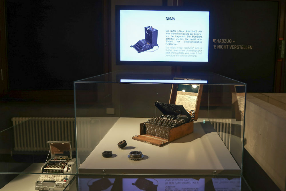 An Enigma machine at the Spy Museum in Berlin