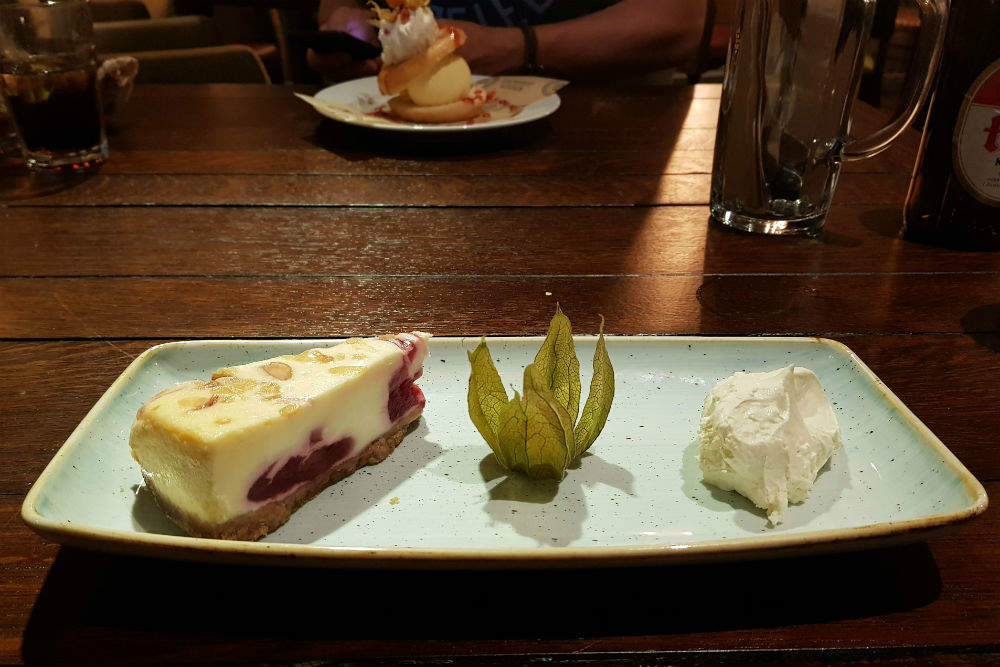 I chose the Cherry Bakewell Cheesecake for my pudding at the Brewhouse and Kitchen in Lichfield #review