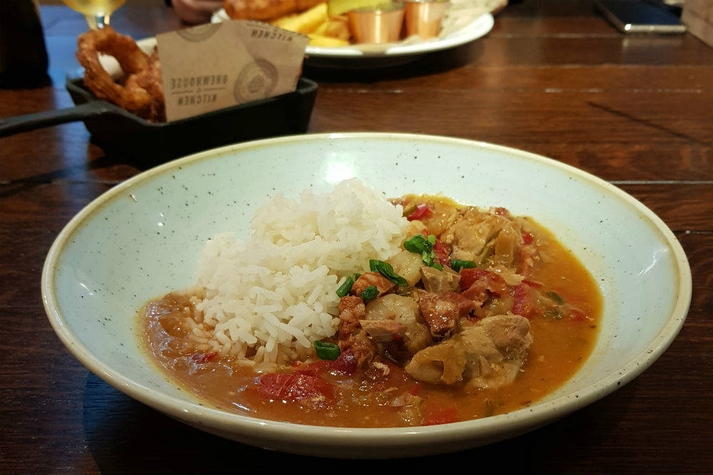 The Cajun Gumbo at the Brewhouse and Kitchen in Lichfield was packed with tender chicken, chorizo and prawns #review