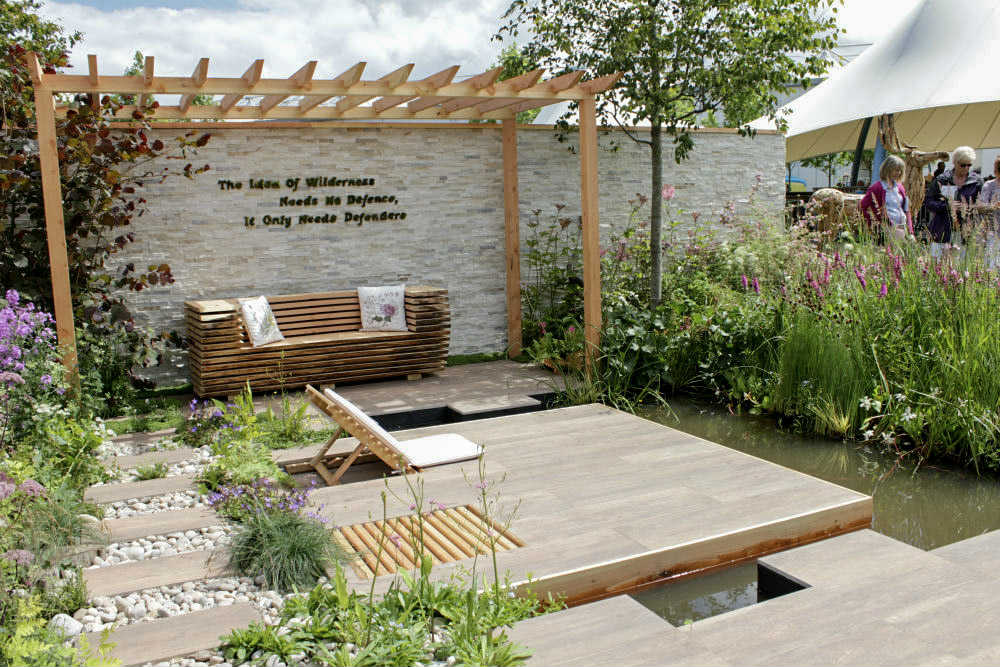 'Wetland Plants - The Idea of Wilderness' Garden, one of the show gardens at Gardeners World Live 2017
