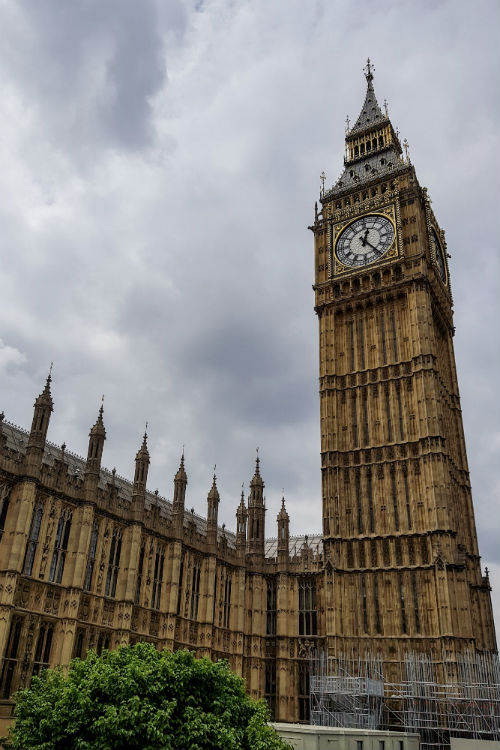The Elizabeth Tower (also known as Big Ben!) at the Houses of Parliament in London.