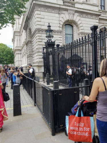 Security outside Downing Street in London