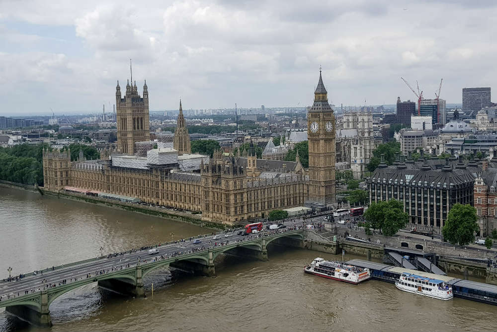 A view of the Houses of Parliament, Westminster Bridge and the River Thames, as seen from onboard the London Eye.