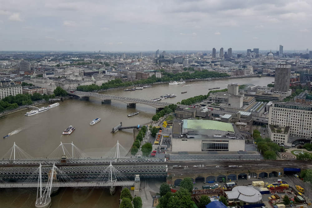 A view of the River Thames, from onboard the London Eye.