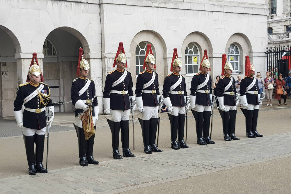 The guards ready for the end of day inspection ceremony at Horseguards' Parade in London