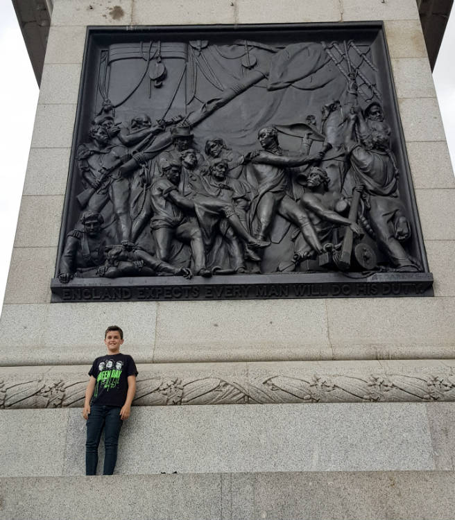 Lyle at Nelson's Column on Trafalgar Square in London