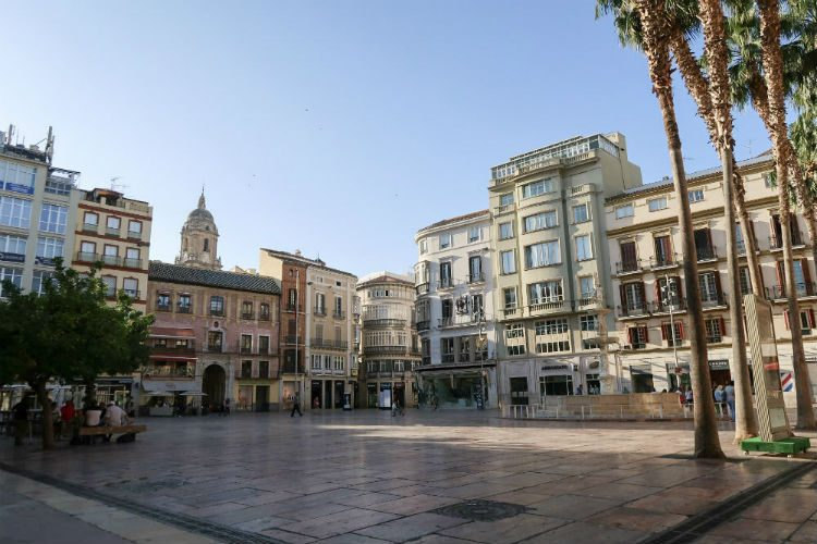 An early morning shot of Plaza de la Constitucion in Malaga, Spain