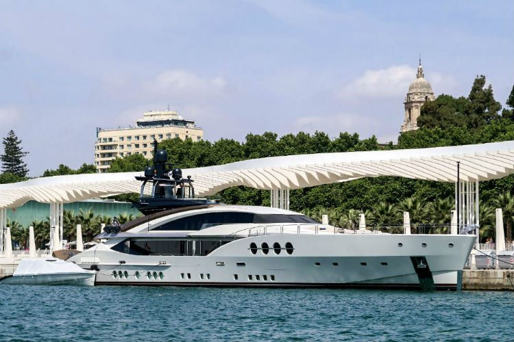A stunning yacht at the marina in Malaga