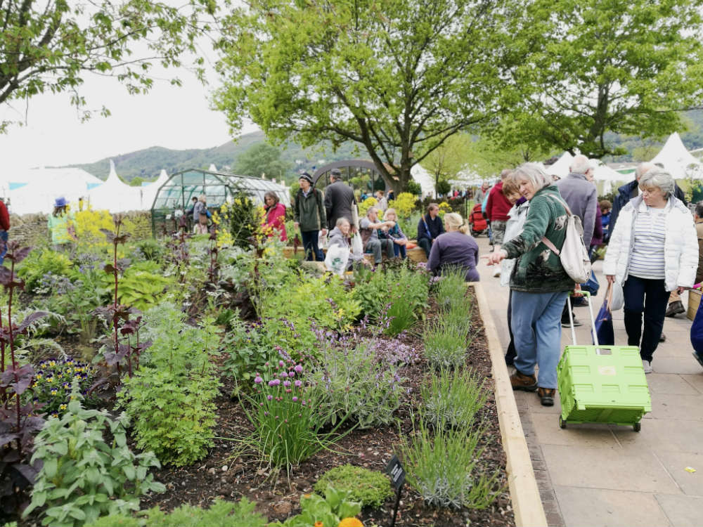 The new Health and Wellbeing Garden at the Three Counties Showground was designed by Jekka McVicar. It was opened at the RHS Malvern Spring Festival 2017