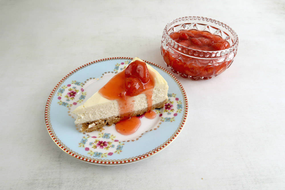 My baked New York Cheesecake with a Simple Strawberry Sauce. They're both incredibly easy to make, and taste absolutely delicious!