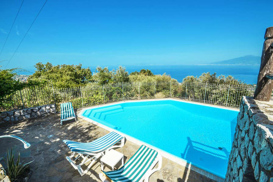 A view of the Bay of Naples from the pool at Villa Luli in Sorrento, available to book at Clickstay