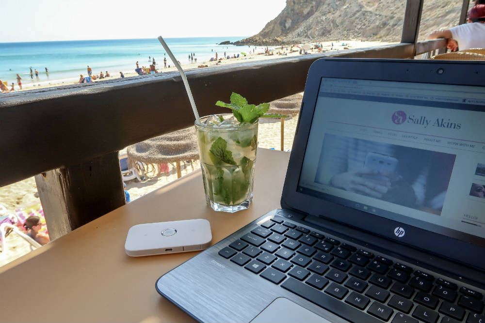 Working from the beach bar is easy with a Three Mifi - every office should have a view like this!