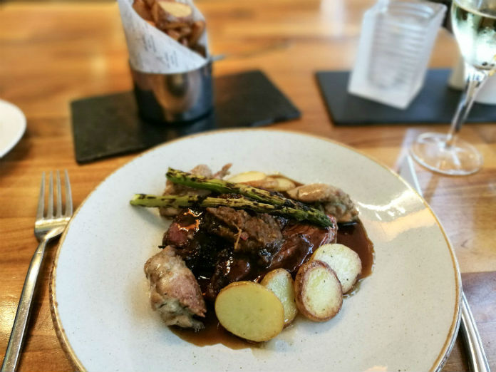 Tender grilled lamb, with sweet aubergine, sweetbreads, and griddled asparagus, from the Metro Brasserie at the Apex City Quay Hotel & Spa in Dundee