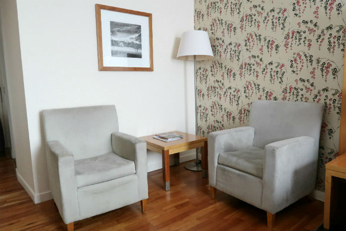 The seating area in an Executive room at the Apex City Quay Hotel & Spa in Dundee