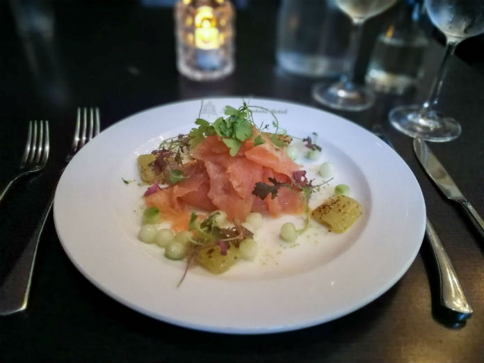 A delicious starter of smoked salmon at the Tempus restaurant at the Grand Central Hotel, Glasgow