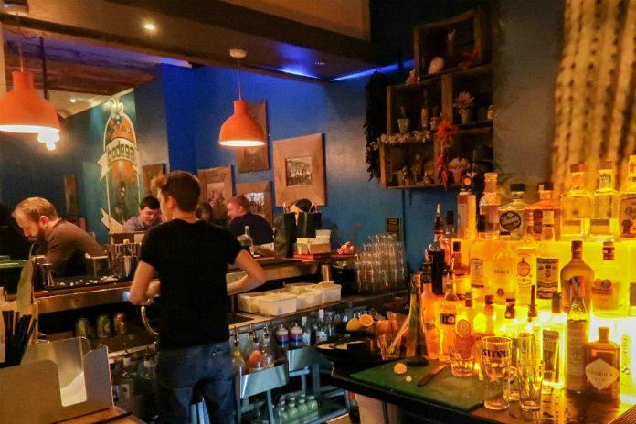 The bar at Bodega Cantina restaurant in Birmingham.