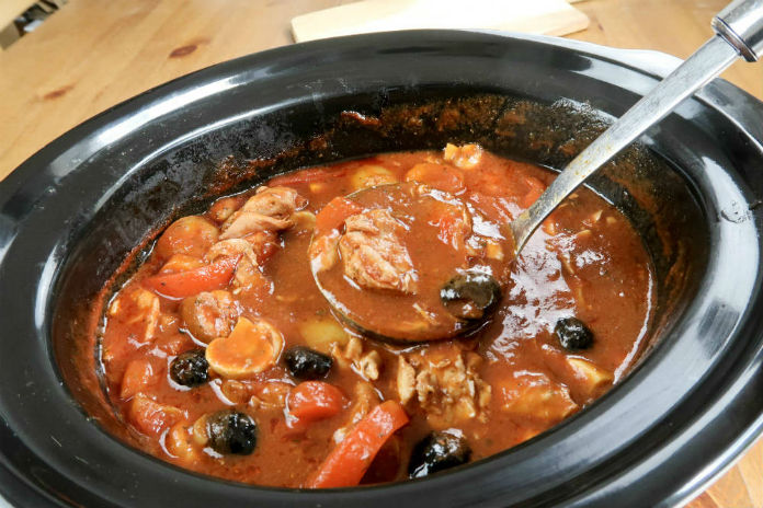 Chicken Cacciatore cooked in the a slow cooker